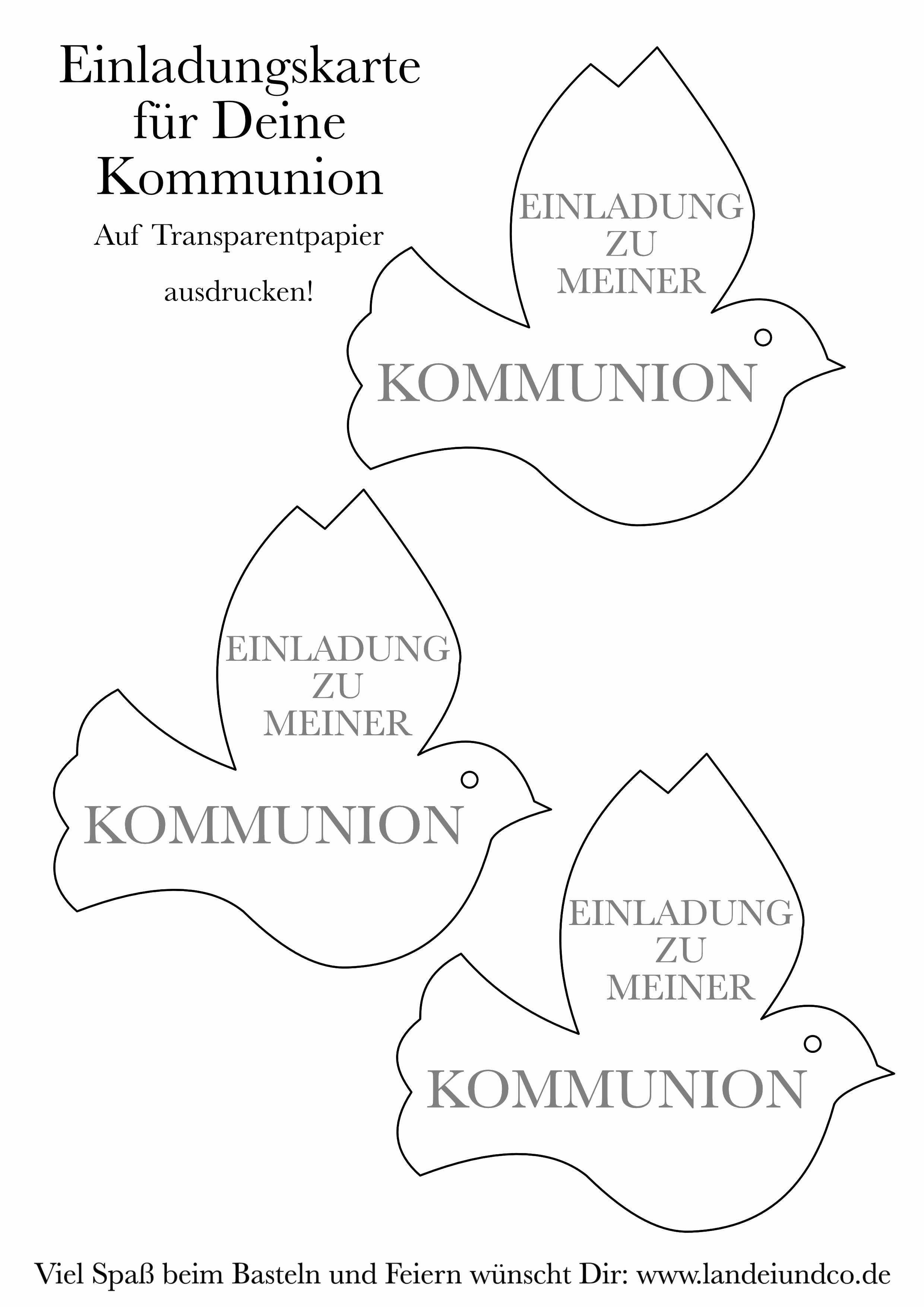 Free Printable Taube Mit Text Kommunion! Klick!